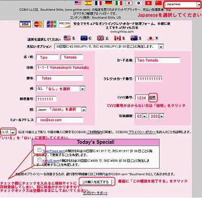 CCbillのクレジット情報入力ページ