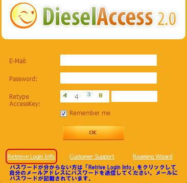 Dieselのログインページ
