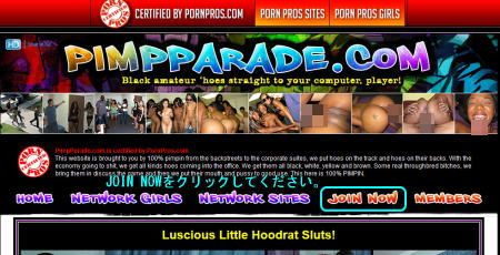Pimp Paradeのメインページ上部