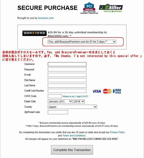 MBI-probillerのクレジット情報入力フォーム