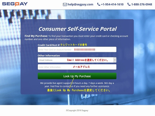 SegPayのメインページ