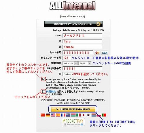 All Internalのクレジット情報入力ページ
