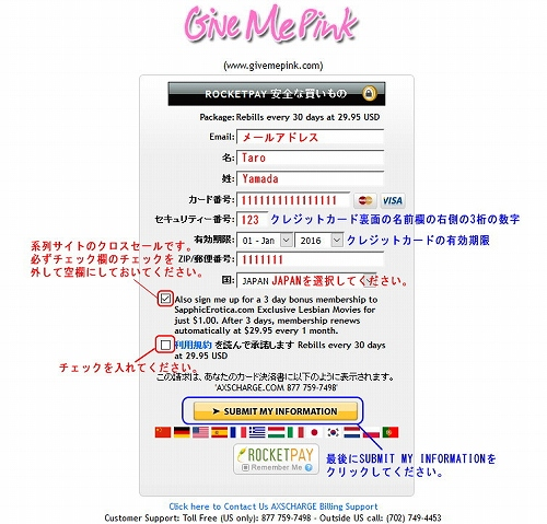 Give Me Pinkのクレジット情報入力ページ