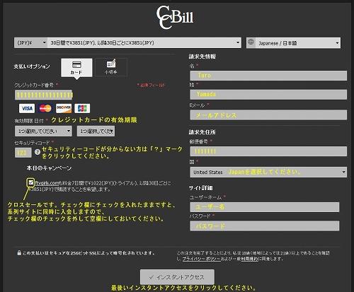 CCbillのクレジット情報入力フォーム