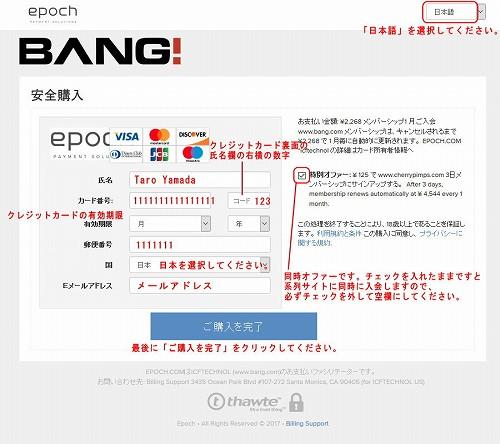 Epochのクレジット入力フォーム