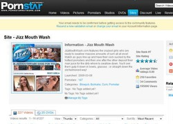 Jizz Mouth Washの会員ページのスクリーンショット