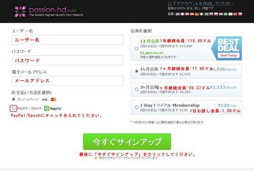Passion HDの支払い選択ページ
