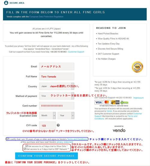 Vendoのクレジット情報入力フォーム1