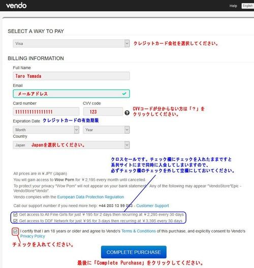 Vendoのクレジット入力ページ