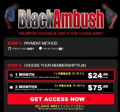 Black Ambushの会員プラン選択ページ