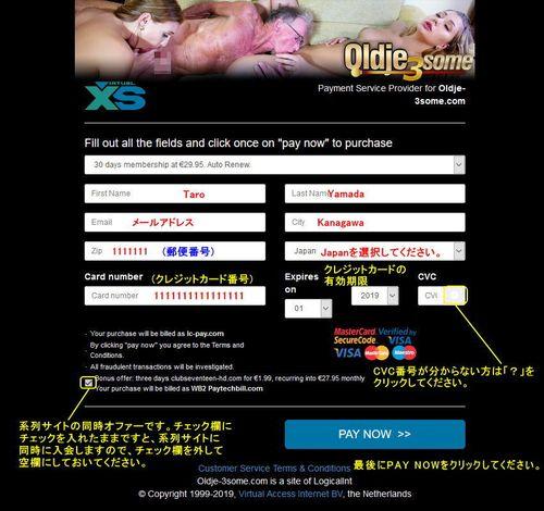 VXSBillのクレジット情報入力ページ