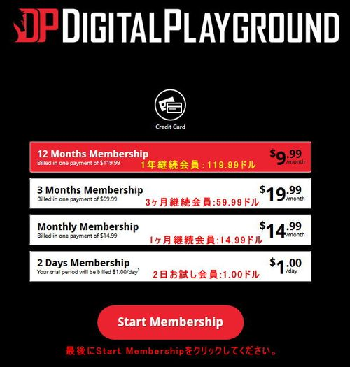 Digital Playgroundの会員プラン選択ページ