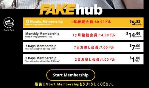 Fake Hubの会員プラン選択ページ