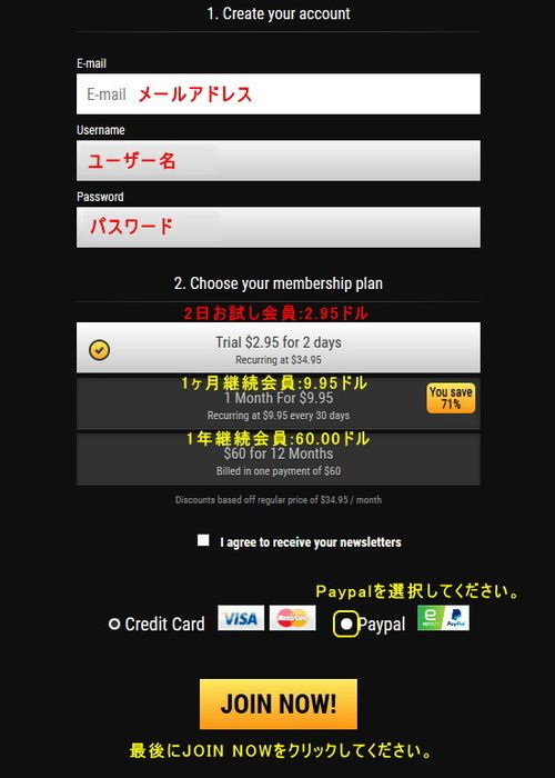 クレジット情報入力ページ